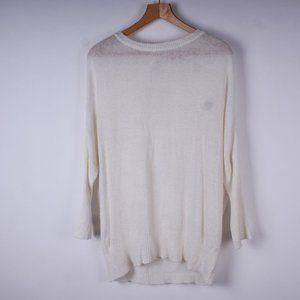 OAK + FORT 40% Wool Airy Knit Back Cutout Sweater